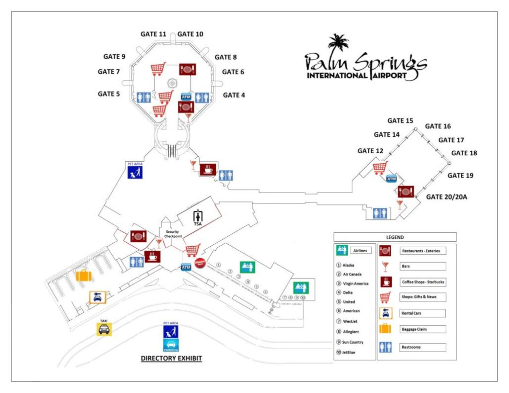 Palm Springs International Airport Terminal Map